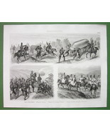 WARFARE German & Austrian Army Uniforms Cavalry - Original Print Engraving - $9.45