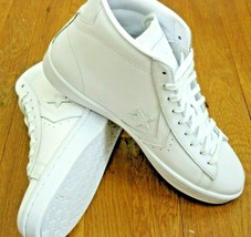 Converse Mens PL 76 Mid Leather Basketball Shoes Classic Triple White Si... - $59.39