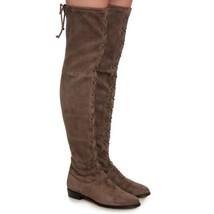 New $825 Stuart Weitzman Exes Londra Grey Suede Lace Up OTK Boots Size 7 M - $723.05