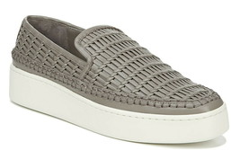 $275 Vince Stafford Woven Leather Sneakers 8.5 Grey 8 1/2 Platform Shoes NIB - $208.25