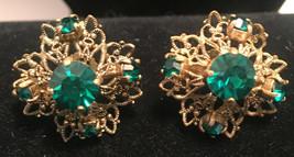 Vintage Screw Back Earrings Gold Tone Fillagree Green Rhinestones Germany - $9.90
