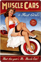 Muscle Cars Pin-Up Metal Sign - $30.00