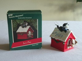 """Hallmark """"Let's Play"""" Dog and Cat Playing Ornament Dated 1989 Movement - $9.99"""