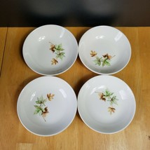 FOUR Salem Maple Leaf Fruit Bowls 5 1/4 Inch White with Autumn Leaves196... - $5.20