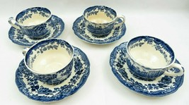 Vintage 4 Blue Royal Worcester Palissy Avon Scenes England 1790 Cups & S... - $85.00