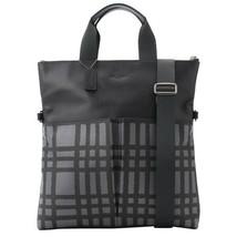 NWT Coach Men Wild Plaid Graphite Black Leather Fold Over Tote Handbag F... - $154.99