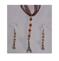 Necklace Earrings 3D Eiffel Tower Charms Brown Clear Beads Brown Ribbon ... - $23.00