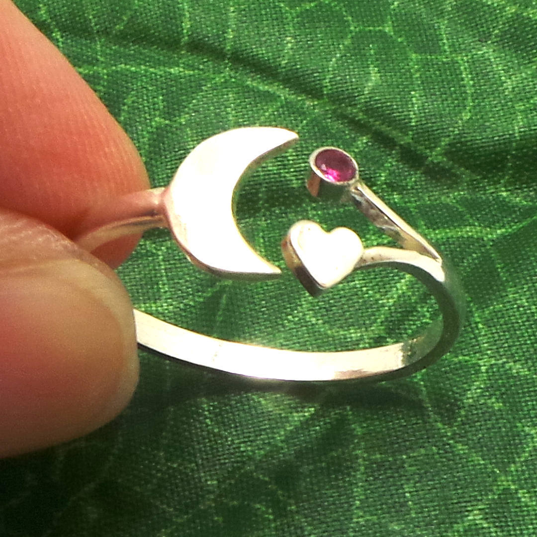 Handmade 925 Sterling Silver Crescent Moon and Heart Ring