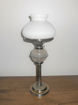 Antique Oil Lamp Hunkin and Heath Silver Plate Cut Crystal Orb Corinthia... - $190.00