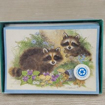 Vintage Raccoon Stationary 8 Note Cards & 8 Envelopes USA Cape Shore 3.5... - $18.69