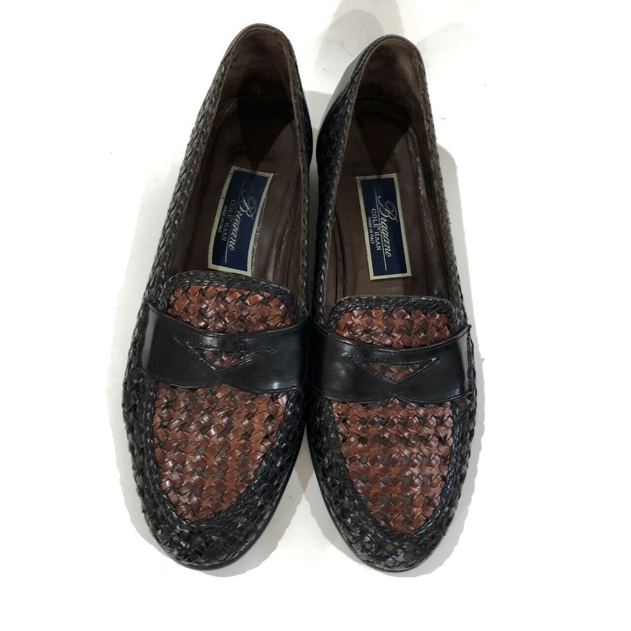$180 COLE HAAN Bragano Brown Woven Leather Loafers Mens Size 7.5 | 283