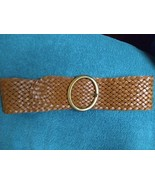 Jessica Simpson wide woven leather belt S Small New with tag tan brown - $20.00