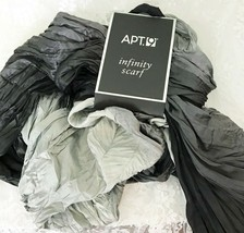 Apt.9 Infinity Scarf Black Gray Ombre Coloring Soft Silky Crinkled Look - $18.79