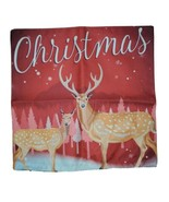 """Christmas Deer Buck Throw Pillow Case Cover Only Empty Zip 16-17"""" Square... - $9.79"""