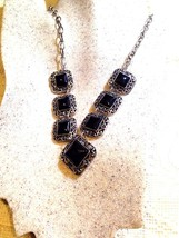 Vintage Handmade Silver Finish Genuine Black Onyx Necklace - $39.60