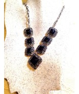 Vintage Handmade Silver Finish Genuine Black Onyx Necklace - $39.60