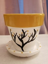 """""""Bloomimg Tree"""" Hand-painted 4in Terracotta plant/flower pot - $15.00"""