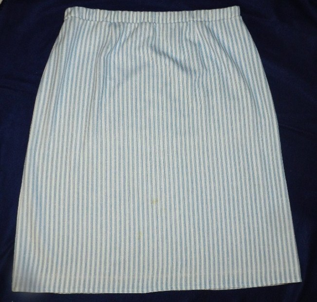 Lady Graff White Blue Striped  Size 1X Skirt and Jacket
