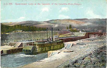 Columbia River locks and Cascades Oregon Vintage Post Card