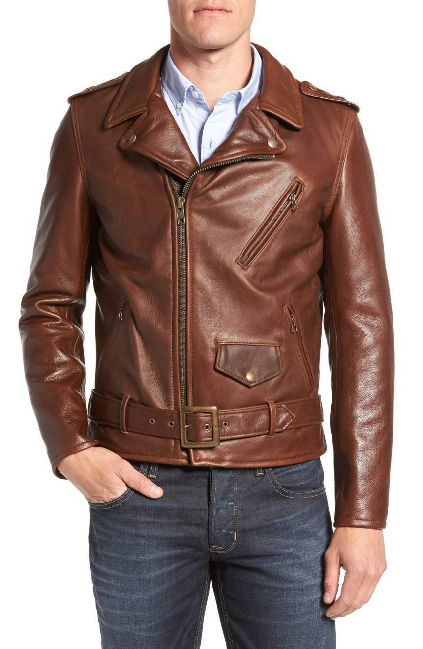 Vintage Notched Collar Men Genuine Lambskin Leather Jacket Slim fit Biker jacket