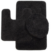 BATHROOM SET BATH MAT COUNTOUR RUG LID COVER PLAIN BLACK US - $33.64
