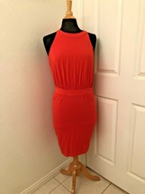 Womens Cynthia Steffe Coral  Rose Jersey Open Back Dress Large $178 NEW NWT - $9.89