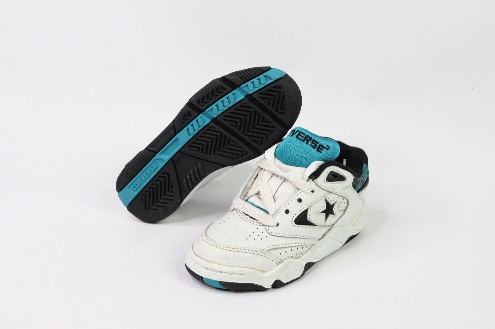 Vintage 90s New Youth 9.5 Powergame Lea Ox Leather Basketball Shoes White Blue