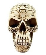 Cream Tribal Tattoo Skull Statue Halloween Decor Horror - $23.35 CAD
