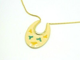 ART Signed Beige Green Yellow Enamel Artist Palette Pendant Necklace Vin... - $21.03