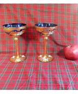 Moser Bohemian Cobalt Czech Glass Large Stemmed Champagne Enamel Flowers... - $30.84