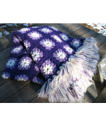 Handmade crochet granny square afghan Purple Lavender Vintage Chic throw... - $100.00