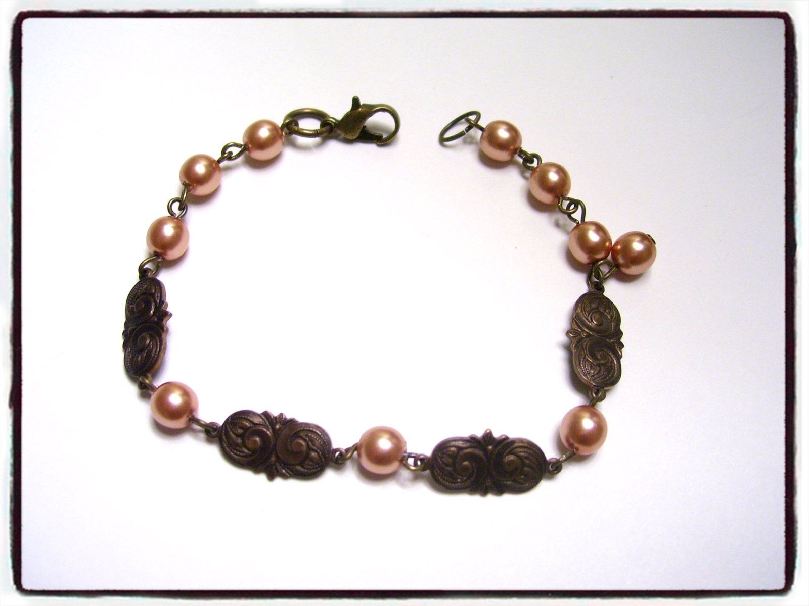 Vintage peaches and brass bracelet