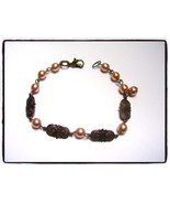 Vintage peaches and brass bracelet - $12.00