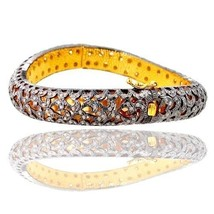 Victorian 14k Yellow Gold 3.05ct Diamond Pave Bangle 925 Sterling Silver... - $1,062.25