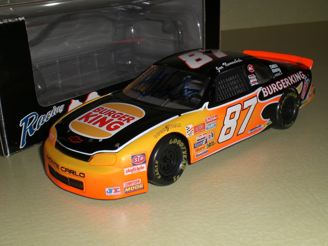 Joe Nemechek SIGNED Nascar 1/24 Burger King diecast car RARE image 2