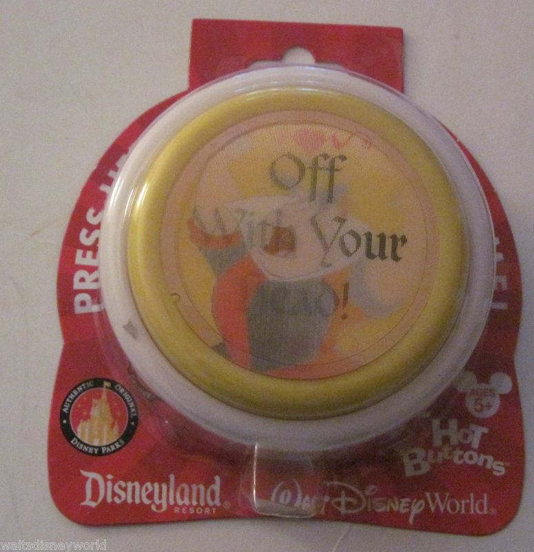 Disney theme park Queen of hearts Off With Your Head hot button Brand New