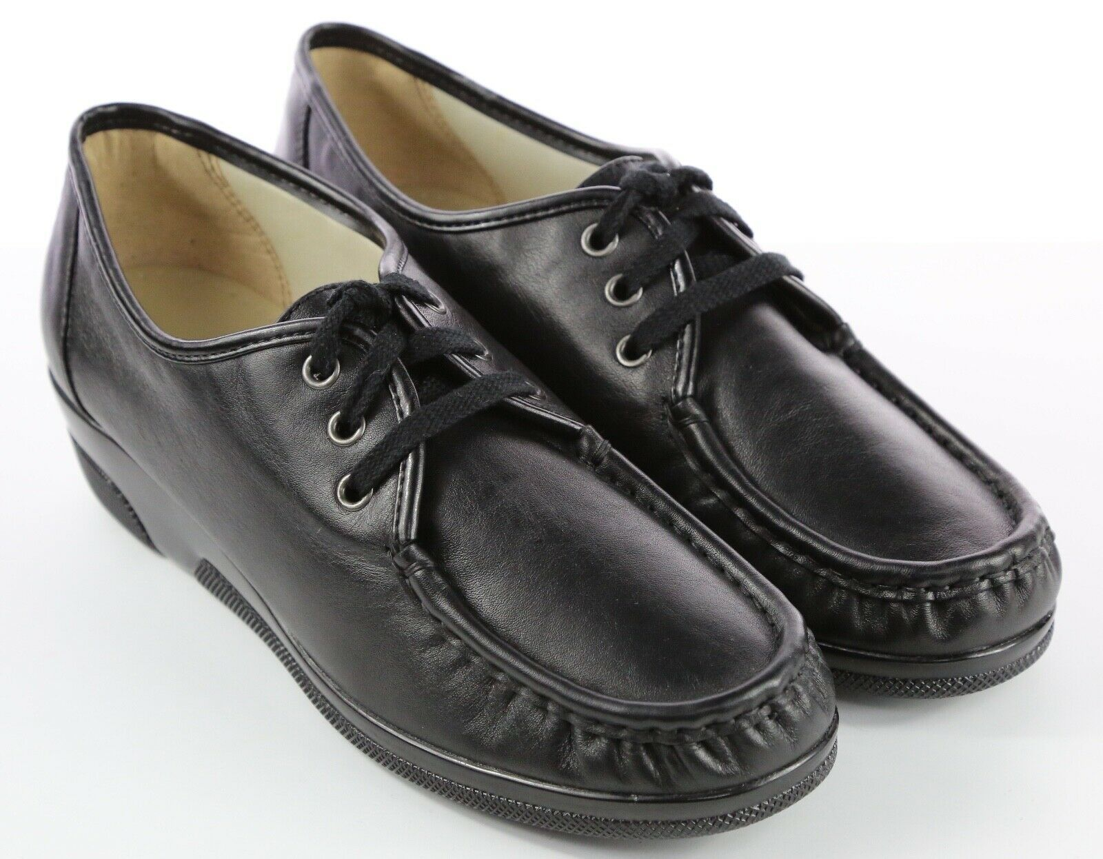 Womens Softspots Anni Hi Wedge Oxfords - Black Leather Size 11W