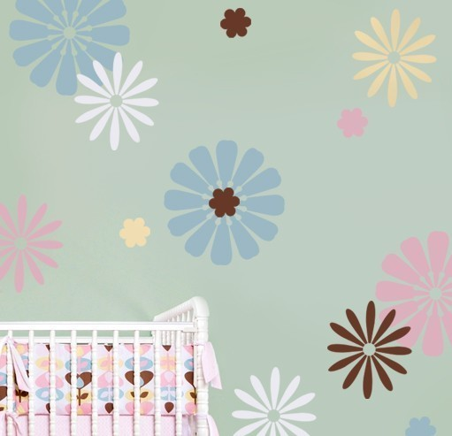 Primary image for Wall Stencils Daisy Crazy Kit 3, DIY Reusable Nursery Decor Stencils