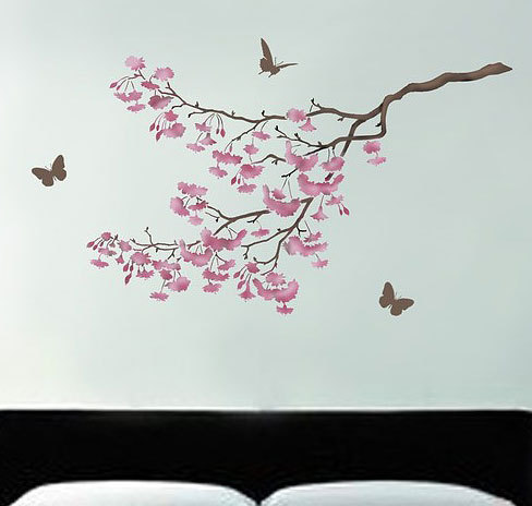 Stencil cherry blossoms reusable stencil for walls better for Cherry blossom wall mural stencil