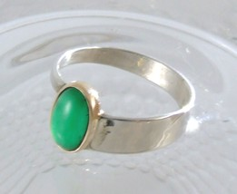 Emerald Cabochon in Gold & Sterling Silver Ring image 3