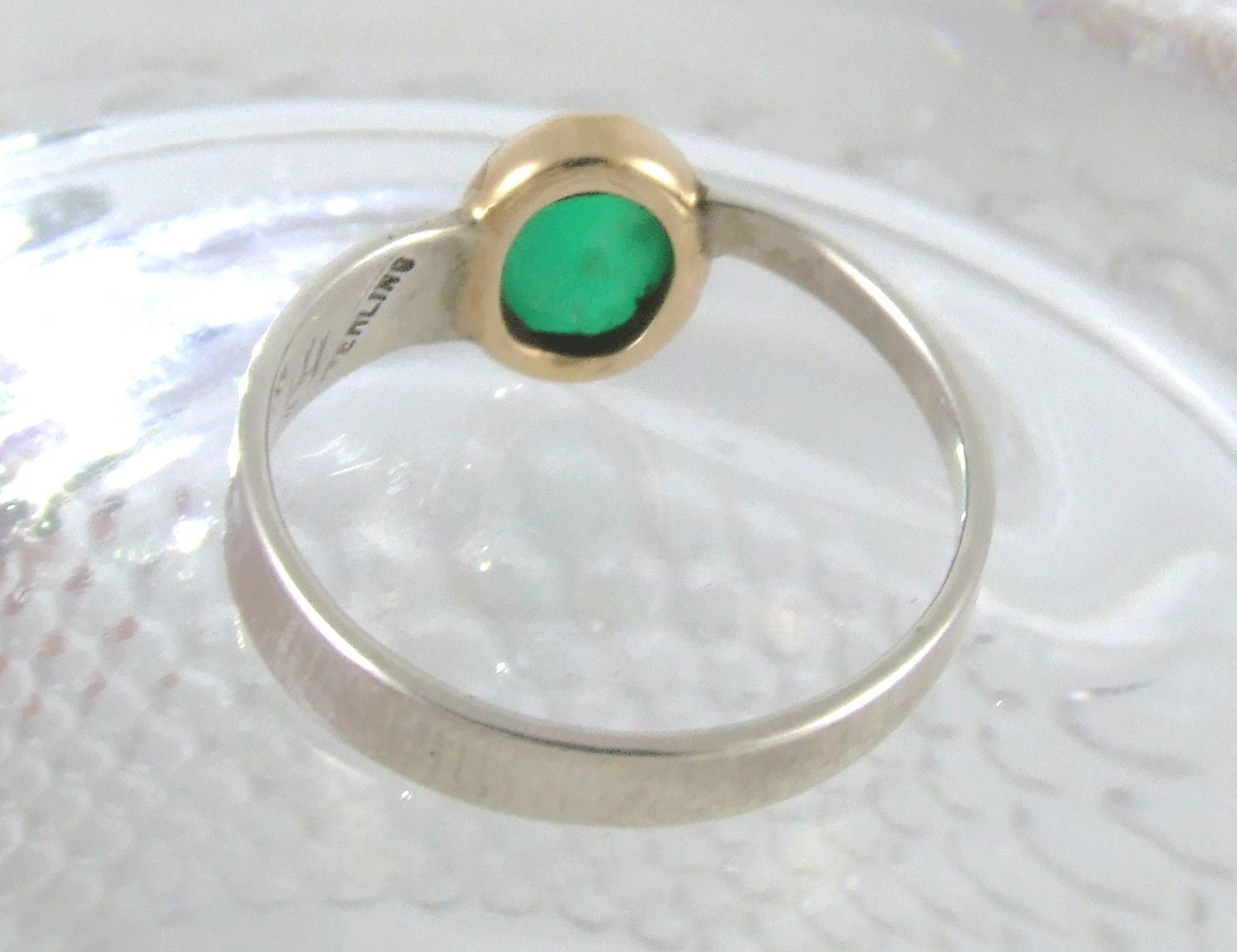 Emerald Cabochon in Gold & Sterling Silver Ring image 4