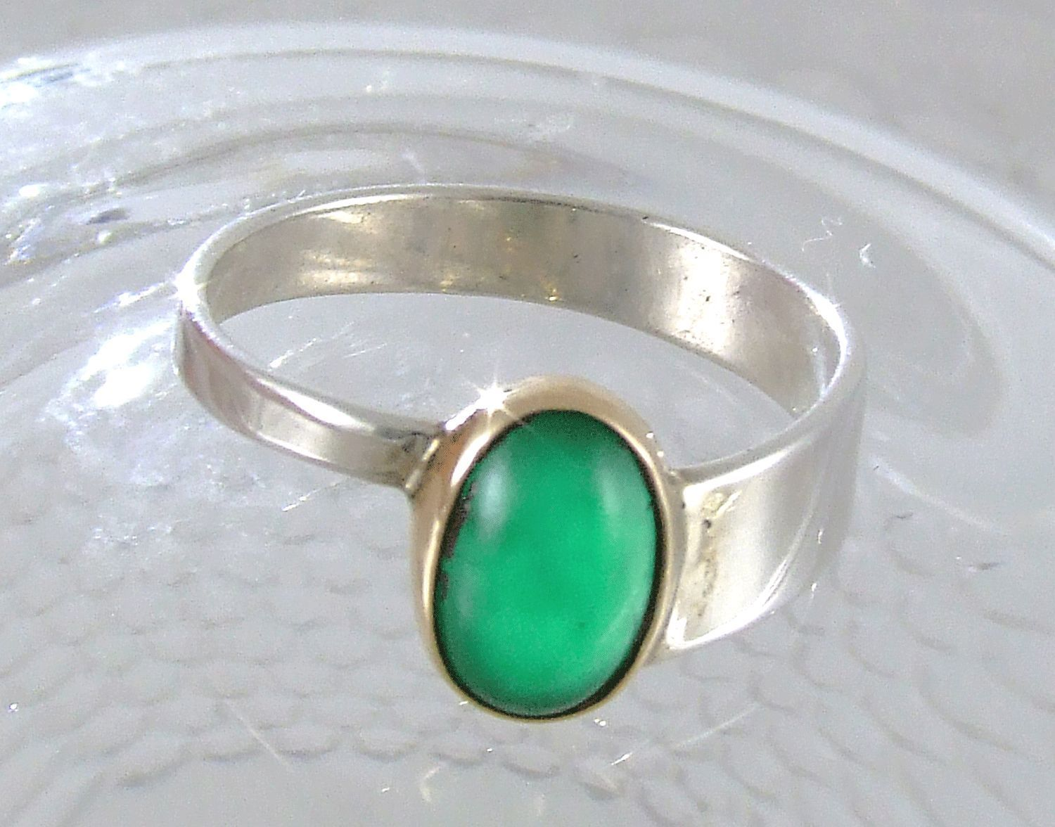 Emerald Cabochon in Gold & Sterling Silver Ring