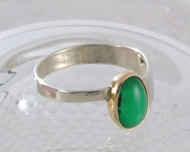 Emerald Cabochon in Gold & Sterling Silver Ring image 2