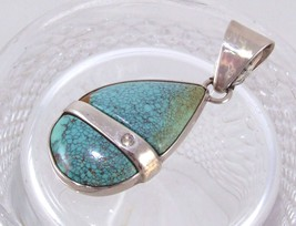 Natural Turquoise & Diamond Sterling Pendant image 1