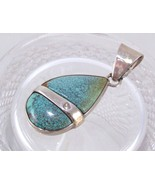 Natural Turquoise & Diamond Sterling Pendant - $1,209.00