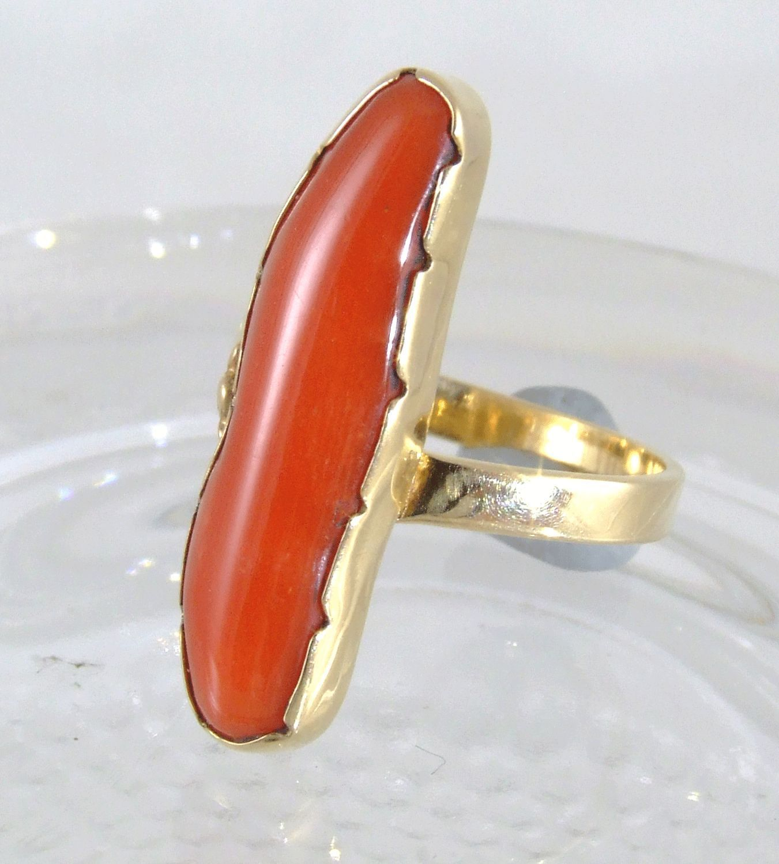 Natural Coral 14K Gold Ring