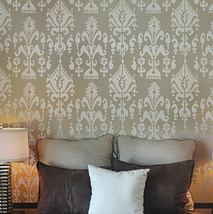 Wall Stencil Ikat Samarkand, reusable stencils for walls not wallpaper - $46.95