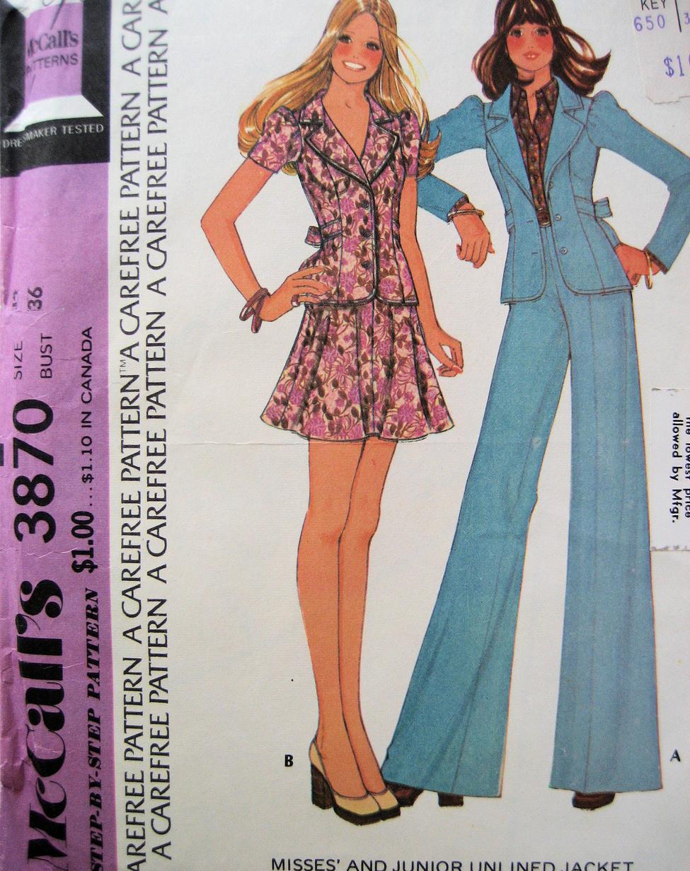 McCalls 3870 Womans Size 14 Jacket Bells Skirt  Vintage70s Pattern Unused McCall's
