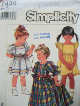 Vintage 80s Pattern Girls Size 5 Dress Puff Sleeves S7405 - $6.95