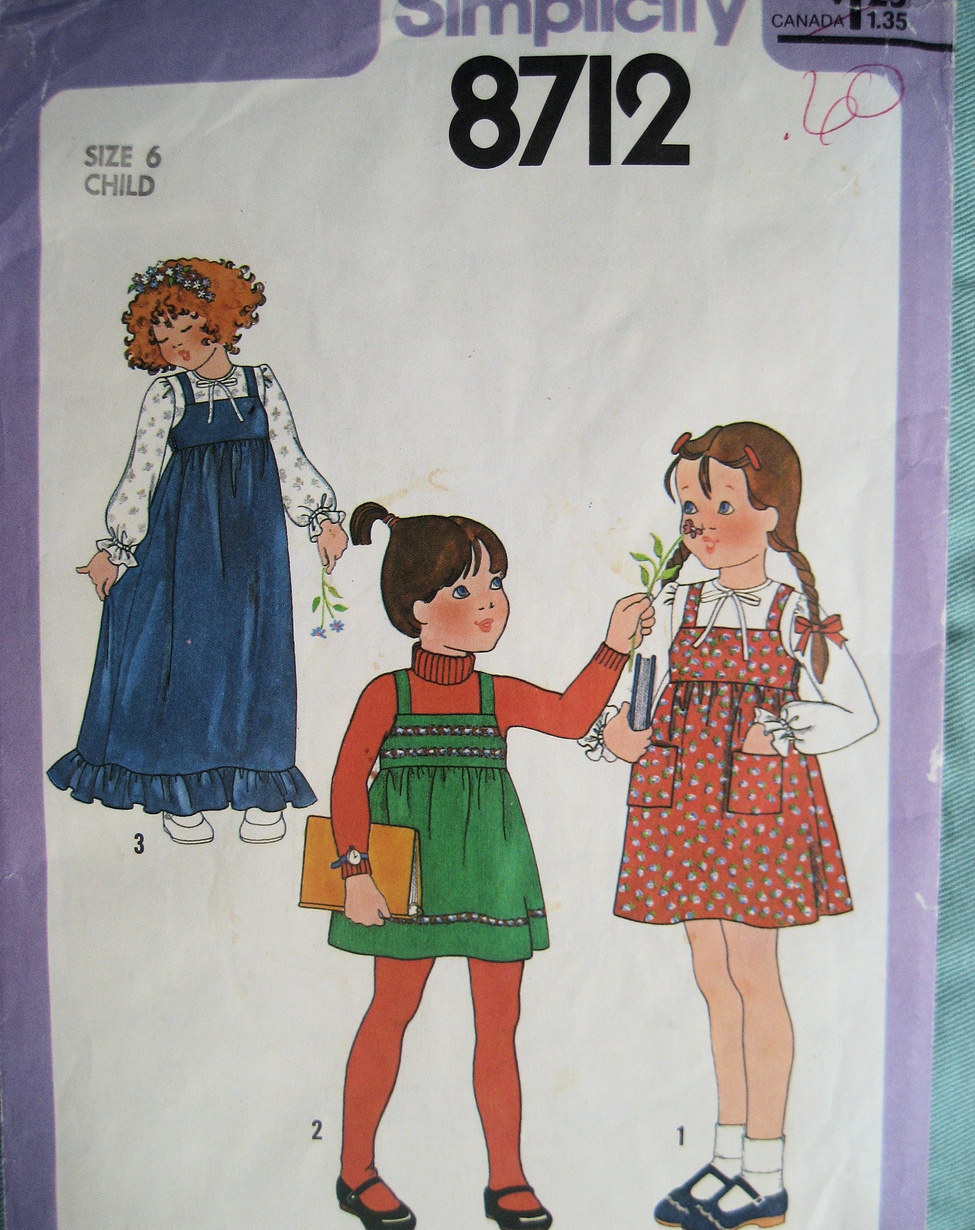 Vintage 80s Pattern Girls Size 6  Jumper Blouse S8712